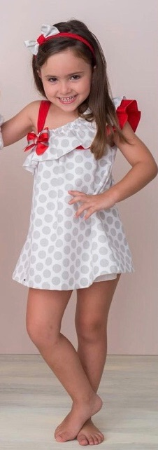 Girls Cuka Silver and Red Dress 88610
