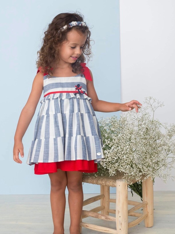 Girls Bas Marti Blue, White and Red Dress 21110