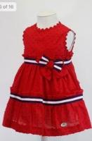 Girls Basmarti Red, White and Navy Dress 21141