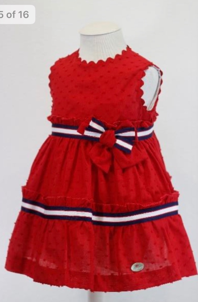 Girls Bas Marti Red, White and Navy Dress 21141