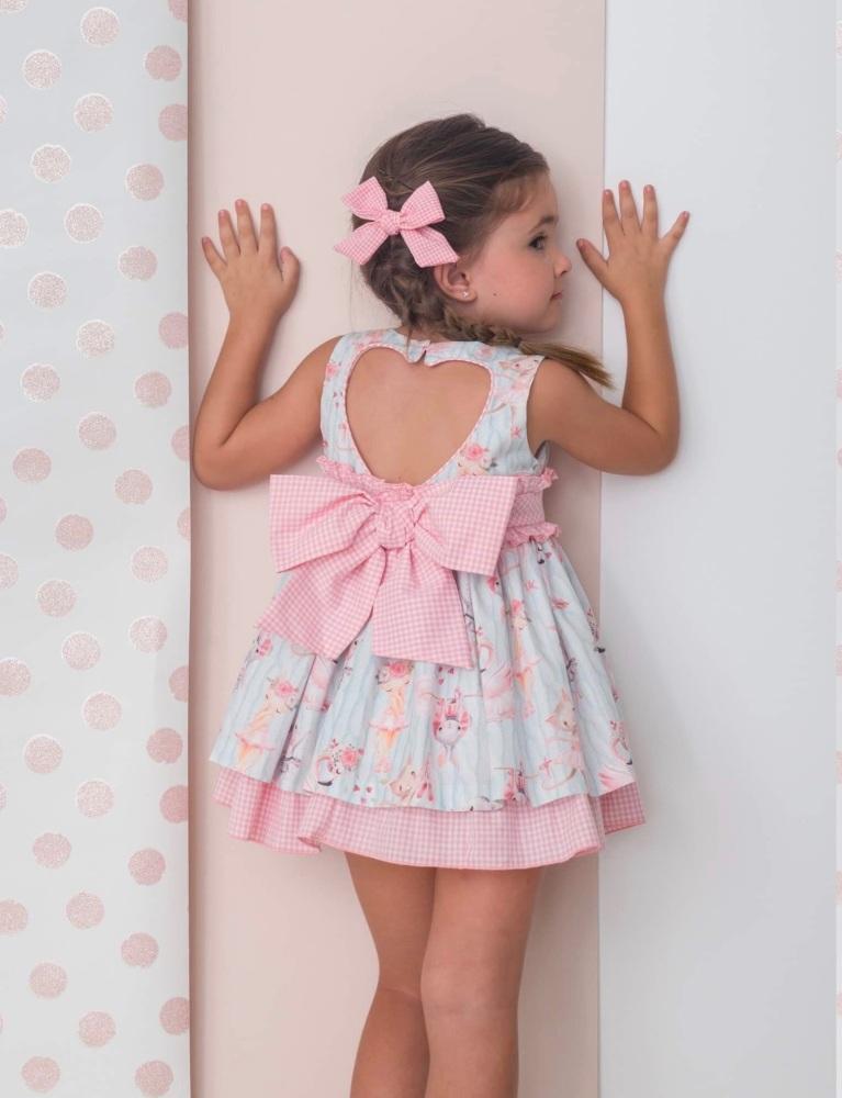 Girls Cuka Blue and Pink Dress 88651
