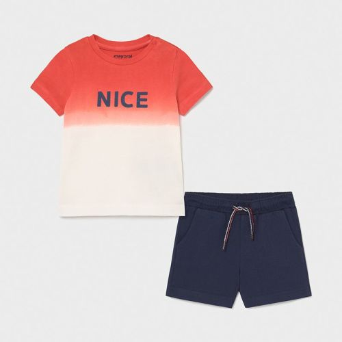 Boys Mayoral T Shirt and Shorts Set 1669 Cyber Red