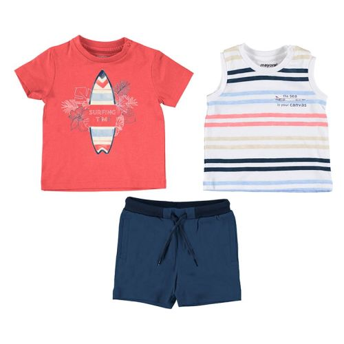 Boys Mayoral 3 Piece Shorts Set 1672 Cyber Red
