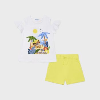 Girls Mayoral T Shirt and Shorts Set 6282 Lemon