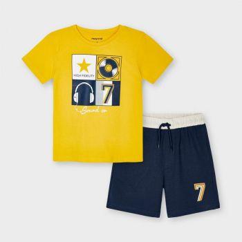 Boys Mayoral T Shirt and Shorts Set 3646 Yellow 40