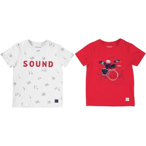 Boys Mayoral T Shirt 2 Pack 3050 Cyber Red 74
