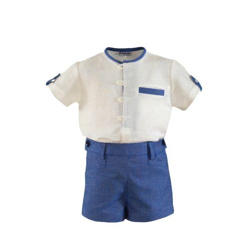 PRE ORDER SS21 Boys Miranda Blue and White Short Set 150
