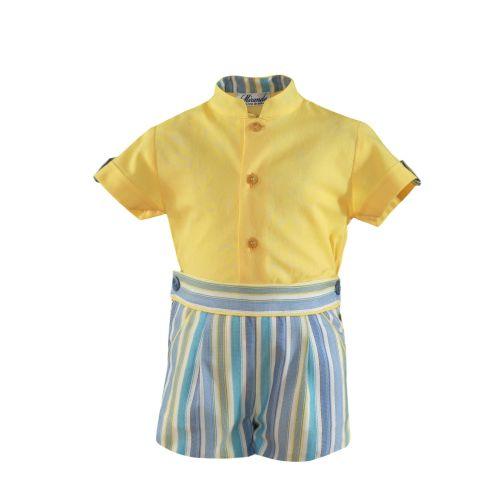 PRE ORDER SS21 Boys Miranda Lemon and Blue Short Set 527