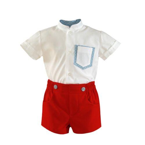 PRE ORDER SS21 Boys Miranda Red and Blue Short Set 156