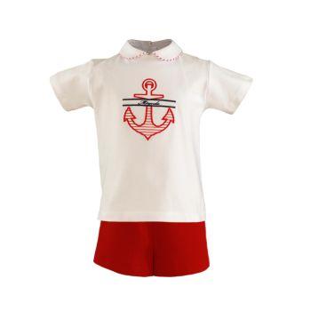 Boys Miranda Red and White Shorts Set 152 (T Shirt and Shorts)