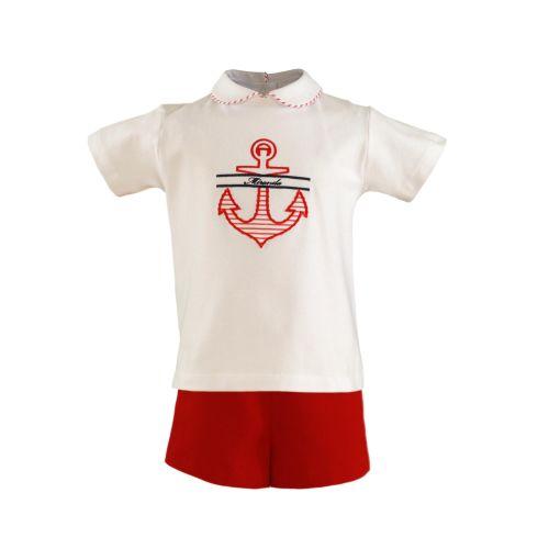 PRE ORDER SS21 Boys Miranda Red and White Shorts Set 152 (T Shirt and Short
