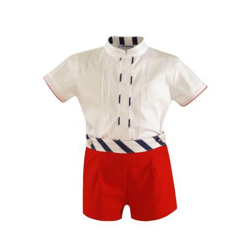 PRE ORDER SS21 Boys Miranda Red, White and Blue Short Set 159
