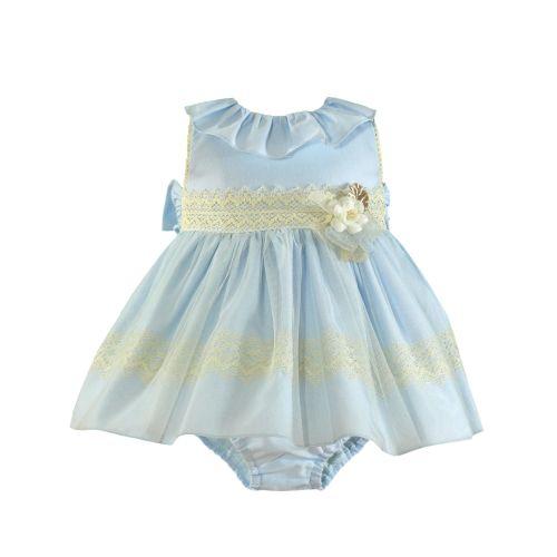 PRE ORDER SS21 Girls Miranda Blue and Cream Dress and Pants 145