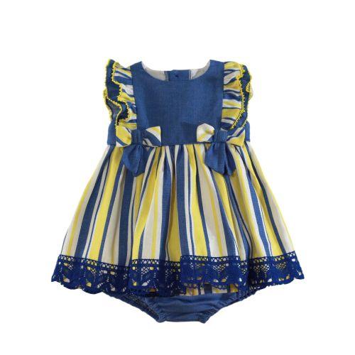 PRE ORDER SS21 Girls Miranda Blue, Lemon and White Dress and Pants 150
