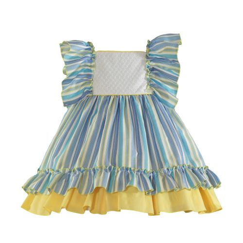 PRE ORDER SS21 Girls Miranda Lemon and Blue Dress 627