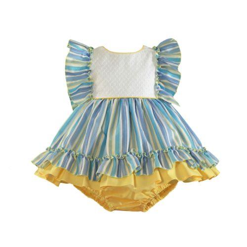 PRE ORDER SS21 Girls Miranda Lemon and Blue Dress and Pants 527