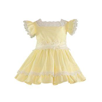 Girls Miranda Lemon and White Dress 241