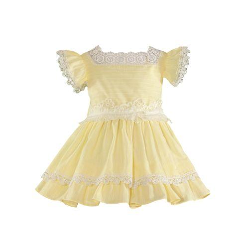 PRE ORDER SS21 Girls Miranda Lemon and White Dress 241
