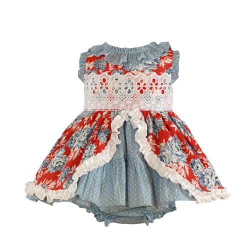PRE ORDER SS21 Girls Miranda Red and Blue Dress and Pants 156