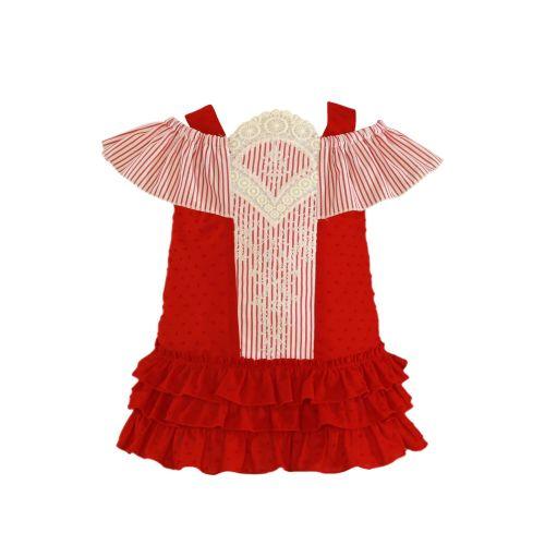 PRE ORDER SS21 Girls Miranda Red and White Dress 153