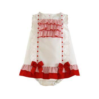 Girls Miranda Red and White Dress and Pants 195