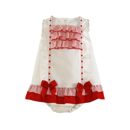 PRE ORDER SS21 Girls Miranda Red and White Dress and Pants 195