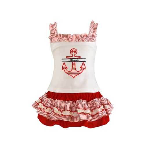PRE ORDER SS21 Girls Miranda Red and White Set 153