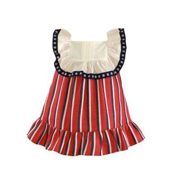 Girls Miranda Red, White and Navy Dress 183