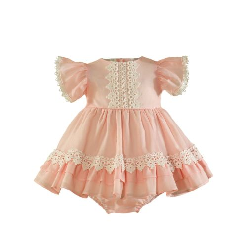 PRE ORDER SS21 Girls Miranda Salmon and Cream Dress and Pants 148