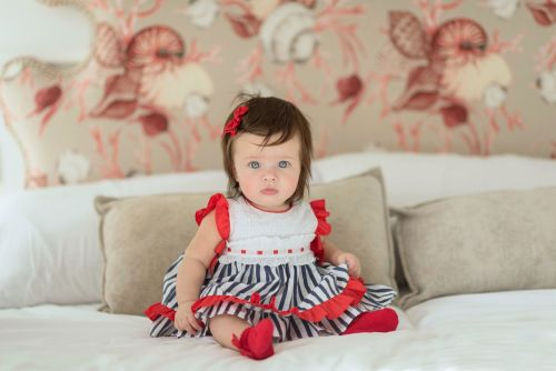 PRE ORDER SS21 Girls Miranda Red, White and Navy Dress and Pants 68