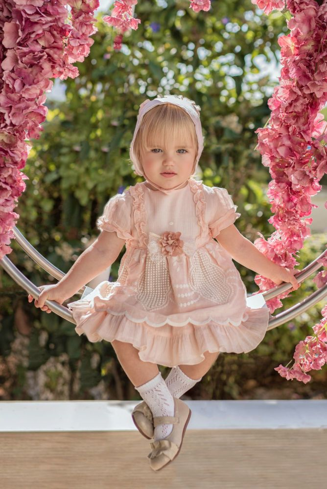 PRE ORDER SS21 Girls Miranda Pink and Cream Dress and Pants 126