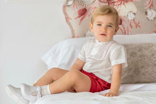 PRE ORDER SS21 Boys Miranda Red and White Shorts Set 152 (Shirt and Shorts)