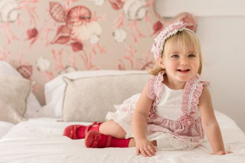 PRE ORDER SS21 Girls Miranda Red and White Dress and Pants 152