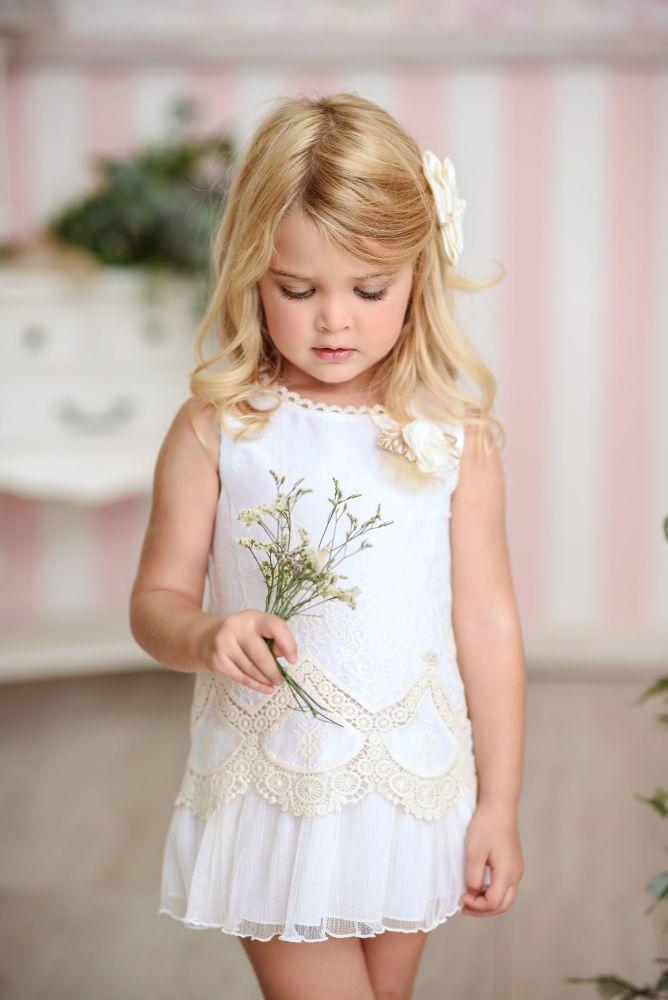 PRE ORDER SS21 Girls Miranda White and Cream Dress 224