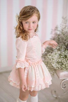 Girls Miranda Pink and Cream Skirt Set 226