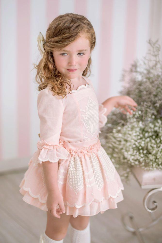 PRE ORDER SS21 Girls Miranda Pink and Cream Skirt Set 226