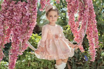 Girls Miranda Pink and Cream Dress 226