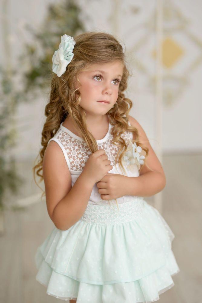 PRE ORDER SS21 Girls Miranda Mint and Cream Skirt Set 242