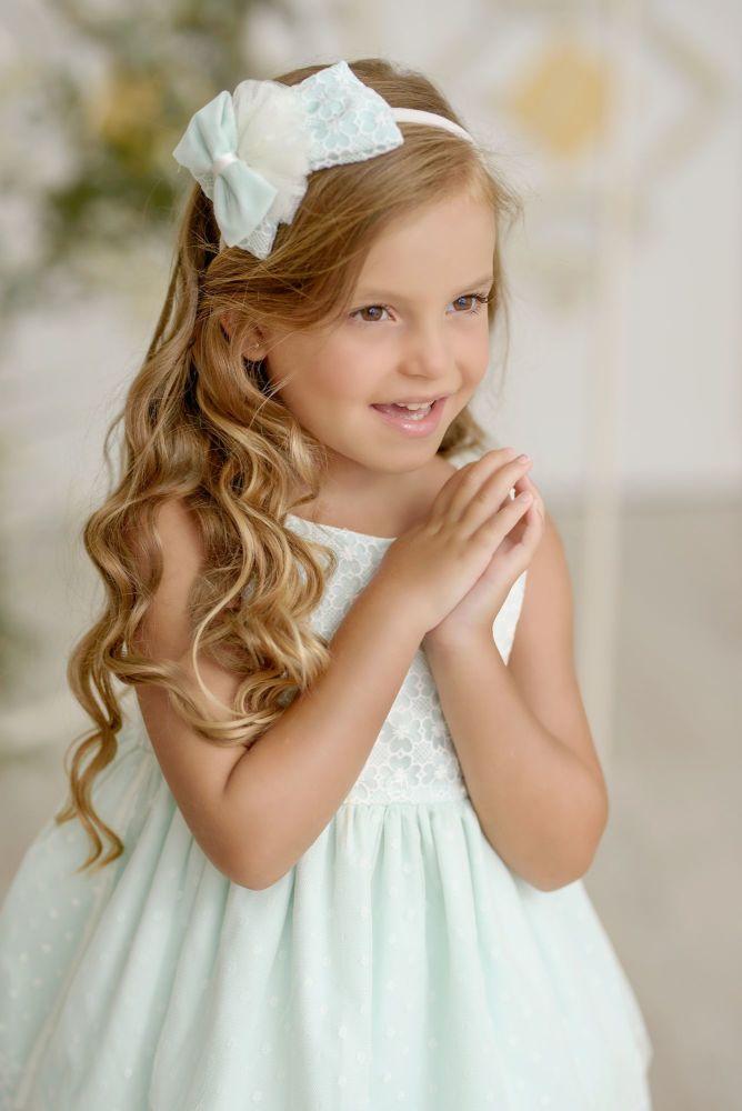 PRE ORDER SS21 Girls Miranda Mint and Cream Dress 242