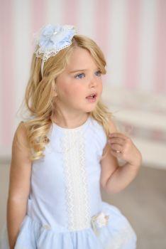 Girls Miranda Blue and Cream Dress 245