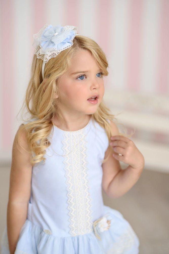 PRE ORDER SS21 Girls Miranda Blue and Cream Dress 245