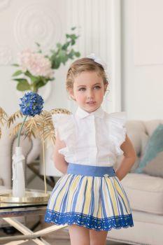 Girls Miranda Blue, Lemon and White Skirt Set 250
