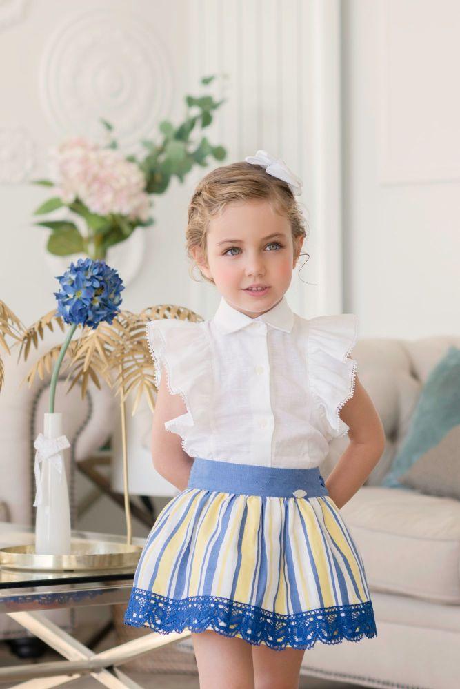 PRE ORDER SS21 Girls Miranda Blue, Lemon and White Skirt Set 250
