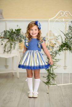 Girls Miranda Blue, Lemon and White Dress 250