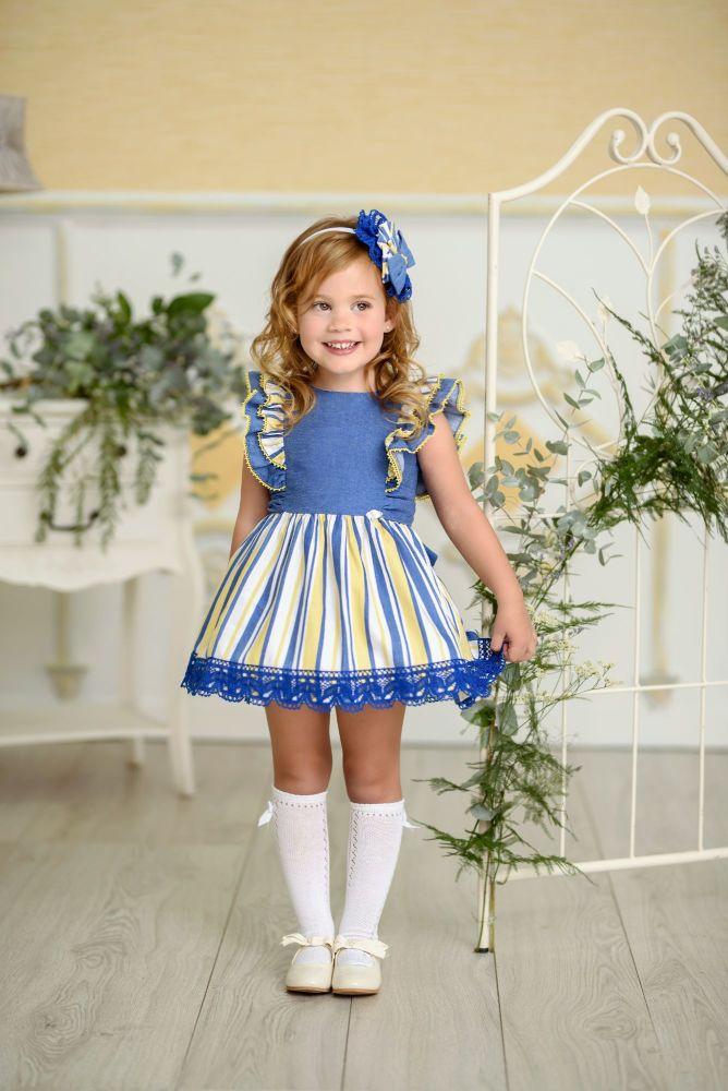 PRE ORDER SS21 Girls Miranda Blue, Lemon and White Dress 250