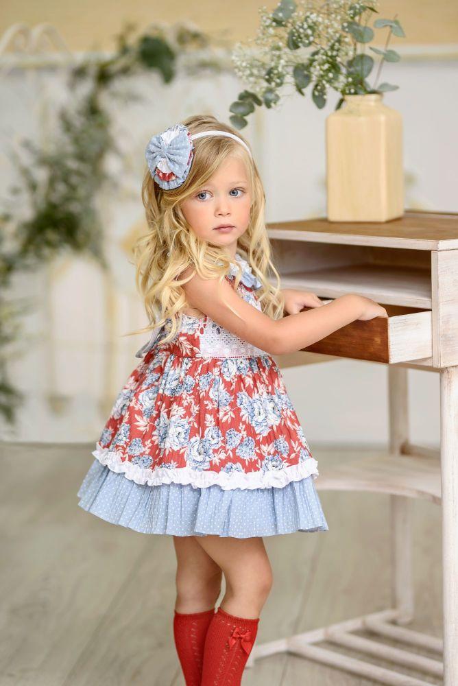 PRE ORDER SS21 Girls Miranda Red and Blue Dress 256