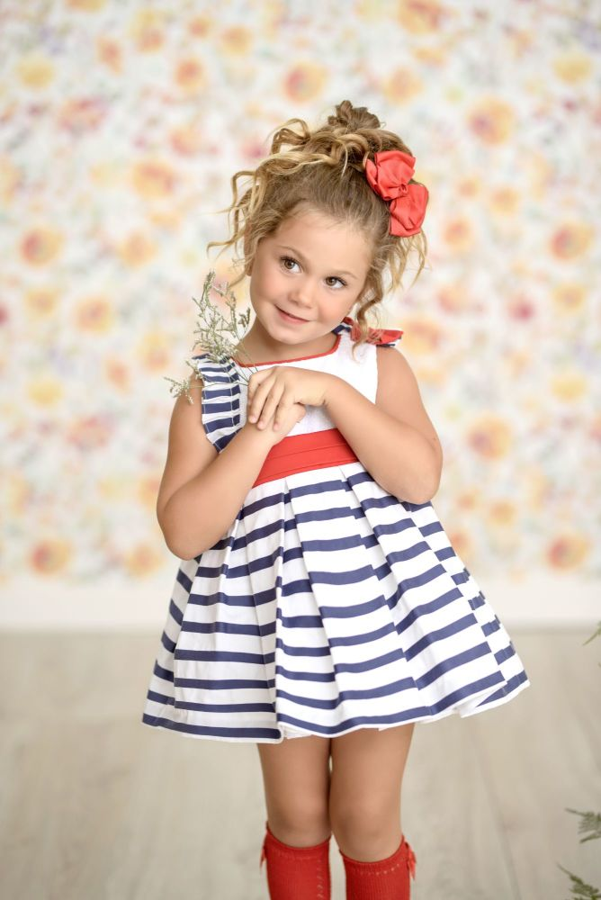 PRE ORDER SS21 Girls Miranda Red, White and Blue Dress 259