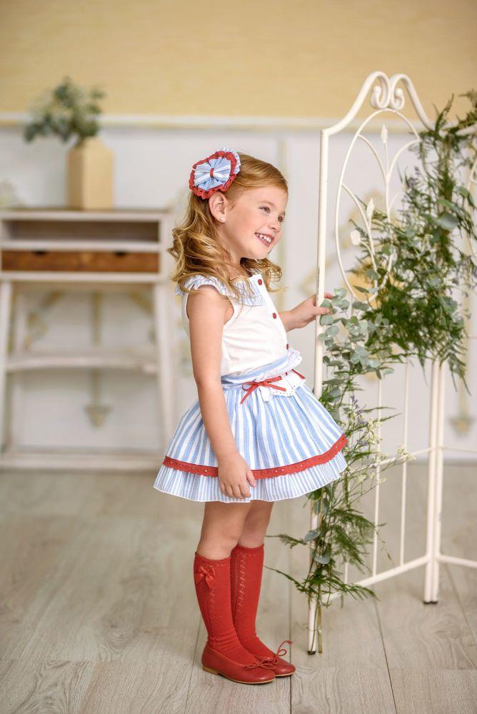 PRE ORDER SS21 Girls Miranda Red, White and Blue Skirt Set 288