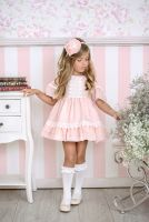 Girls Miranda Salmon and Cream Dress 248