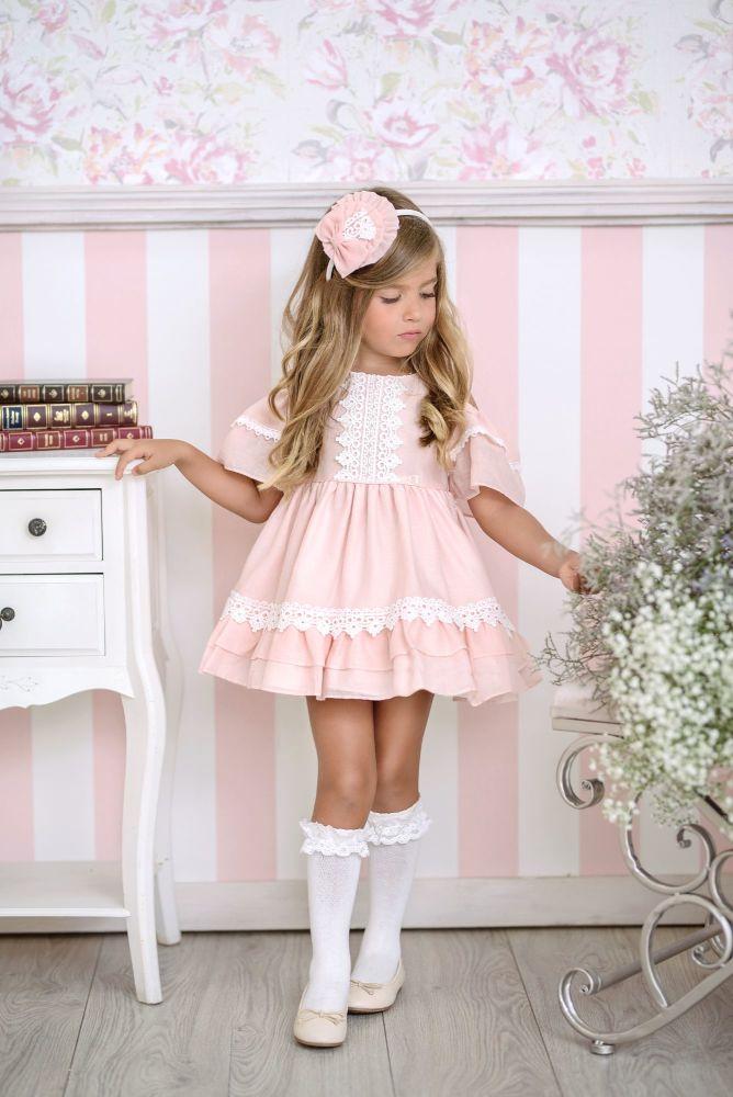 PRE ORDER SS21 Girls Miranda Salmon and Cream Dress 248